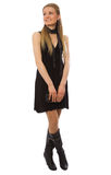 Attractive slim girl with black dress Royalty Free Stock Image