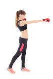 Attractive slim woman in boxing gloves isolated on white Royalty Free Stock Photography