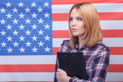 Attractive slim woman is expressing her patriotism Royalty Free Stock Photos
