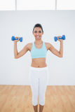 Attractive slim woman lifting blue dumbbells Stock Images