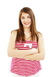 Attractive smile teenage girl folded hand royalty free stock photos