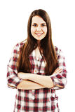 Attractive smile teenage girl folded hand stock photos