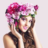 Attractive Smiling Beautiful Girl With Flowers Crown. Perfect Soft Skin. Skincare concept. Bodycare Spa Stock Image