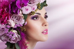 Attractive Smiling Beautiful Girl With Flowers Crown Royalty Free Stock Photography