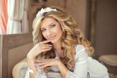 Attractive smiling Bride woman Portrait wedding makeup, wedding. Hairstyle, Wedding dress. Wedding decoration Stock Photography