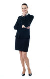 Attractive smiling corporate lady. Isolated over white Royalty Free Stock Photos