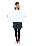 Attractive smiling cute girl holding blank poster Stock Photography