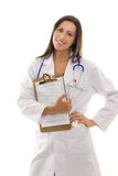 Attractive smiling doctor with health record document Stock Photo