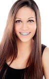 Attractive smiling girl with brackets Royalty Free Stock Photography