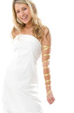 Attractive smiling girl dressed like a Greek Royalty Free Stock Photo