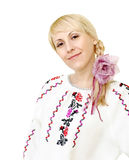 Attractive smiling girl in Ukrainian costume Royalty Free Stock Image