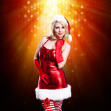 Attractive smiling miss santa Royalty Free Stock Photography
