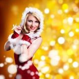 Attractive smiling miss santa Stock Photos