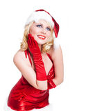 Attractive smiling miss santa. Isolated on white Royalty Free Stock Photos