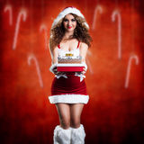 Attractive smiling miss santa. With a present Stock Photos