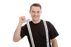 Attractive smiling musician with suspenders Royalty Free Stock Images