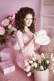 Attractive smiling teen girl portrait open present, romantic sur Stock Photo