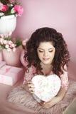 Attractive smiling teen girl portrait open present, romantic sur Stock Photos