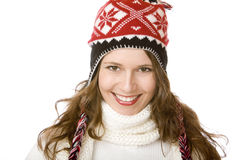 Attractive smiling woman with cap and scarf Stock Images