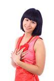 Attractive smiling woman with heart Stock Photography