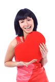 Attractive smiling woman with heart Stock Images
