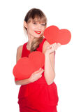 Attractive smiling woman with heart Royalty Free Stock Images