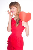 Attractive smiling woman with heart Royalty Free Stock Image