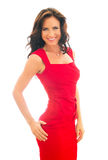 Attractive Smiling Woman In Red Dress. Stock Images