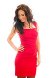 Attractive Smiling Woman In Red Dress. Royalty Free Stock Photos