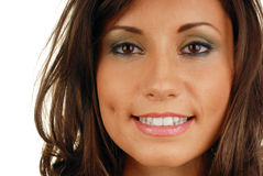 Attractive smiling woman mouth. With great white teeth stock photo