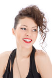 Attractive smiling woman portrait. On white background Royalty Free Stock Images