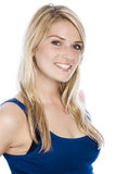 Attractive Smiling Woman in Sleeveless Blue Shirt Royalty Free Stock Images