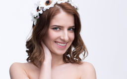 Attractive smiling woman with wreath Royalty Free Stock Photography