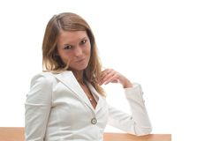 Attractive smiling young woman in white jacket Royalty Free Stock Photo