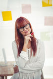 Attractive smling hipster woman thinking Stock Photo
