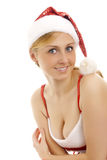Attractive snow maiden with a gift. Royalty Free Stock Photography