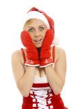 Attractive snow maiden with a gift. Stock Photos