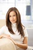 attractive sofa woman Стоковые Фото