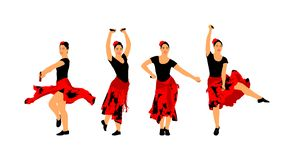 Attractive Spanish girl flamenco dancer . Hispanic woman with castanets in hot dance. Traditional Spain folklore