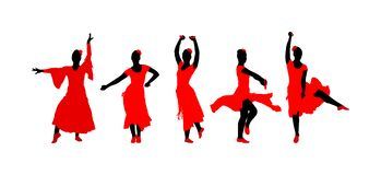 Attractive Spanish girl flamenco dancer  silhouette. Hispanic woman with castanets in hot dance. Traditional Spain folklore