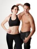 Attractive sport couple. Studio shot, attractive sport couple royalty free stock photos