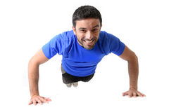 Attractive sport man training push up exercise isolated on white Royalty Free Stock Images