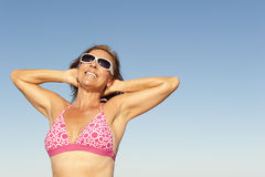 Attractive sporty mature woman isolated Stock Photography