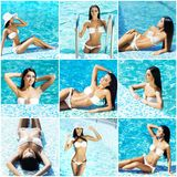 Attractive, sporty, smiling girl with sexy body. Woman in swimsuit near swimming pool. Collection collage. Holiday, vacation,summer, beauty concept Stock Photography