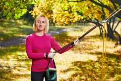Resistance training in park Stock Image
