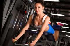 Attractive sporty woman  training in the gym Stock Photos