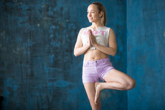 Attractive sporty young woman Doing Vrksasana Pose Royalty Free Stock Photos