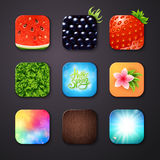 Attractive Square Buttons with Different Designs. Nine Attractive Square Buttons with Different Designs on Gray Background, Emphasizing Watermelon, Blackberry stock illustration