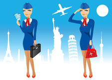 Attractive stewardess holding briefcase Royalty Free Stock Photography