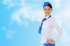 Attractive stewardess stock photo